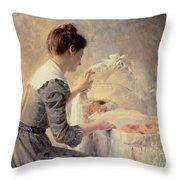 Motherhood Throw Pillow by Louis Emile Adan