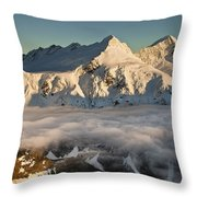 Mount Pollux And Mount Castor At Dawn Throw Pillow by Colin Monteath