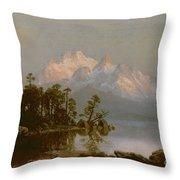 Mountain Canoeing Throw Pillow by Albert Bierstadt