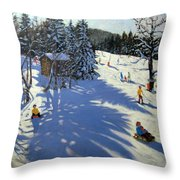 Mountain Hut Throw Pillow by Andrew Macara