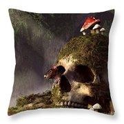 Mouse In A Skull Throw Pillow by Daniel Eskridge