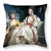 Mrs Thrale And Her Daughter Hester Throw Pillow by Sir Joshua Reynolds