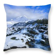 Mt. Hood Morning Throw Pillow by Mike  Dawson