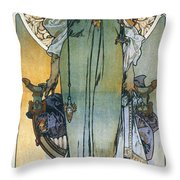Mucha: Theatrical Poster Throw Pillow by Granger