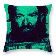 Mugshot Willie Nelson P28 Throw Pillow by Wingsdomain Art and Photography
