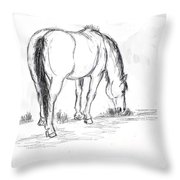 Mustang Mare Field Sketch Throw Pillow by Dawn Senior-Trask