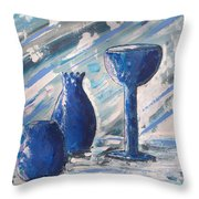 My Blue Vases Throw Pillow by J R Seymour
