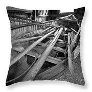 Mystic Seaport Whaling Boat Throw Pillow by John Haldane