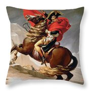 Napoleon Crossing The Alps Throw Pillow by Jacques Louis David
