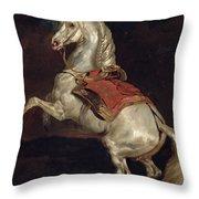 Napoleon's Stallion Tamerlan Throw Pillow by Theodore Gericault