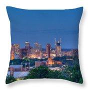 Nashville By Night 1 Throw Pillow by Douglas Barnett