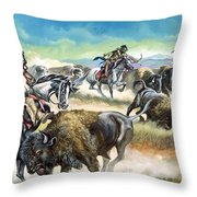 Native American Indians killing American Bison Throw Pillow by Ron Embleton
