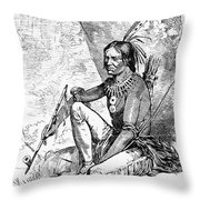 Native American With Pipe Throw Pillow by Granger