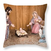 Nativity Scene Throw Pillow by Thomas R Fletcher