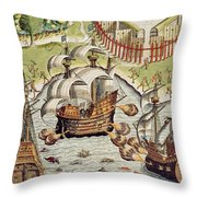 Naval Battle Between The Portuguese And French In The Seas Off The Potiguaran Territories Throw Pillow by Theodore de Bry