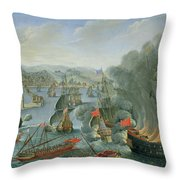 Naval Battle with the Spanish Fleet Throw Pillow by Pierre Puget