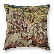 Naval Combat Throw Pillow by Theodore de Bry
