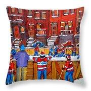 NEIGHBORHOOD  HOCKEY RINK Throw Pillow by CAROLE SPANDAU