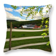 New England Farm Throw Pillow by Catherine Reusch  Daley