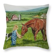 New Friends Throw Pillow by Charlotte Blanchard