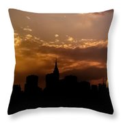 New York City Skyline At Sunset Panorama Throw Pillow by Vivienne Gucwa