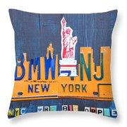 New York City Skyline License Plate Art Throw Pillow by Design Turnpike