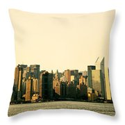 New York City Skyline Panorama Throw Pillow by Vivienne Gucwa
