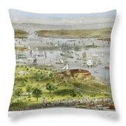 New York Harbor, 1872 Throw Pillow by Granger