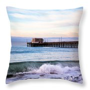 Newport Beach Ca Pier At Sunrise Throw Pillow by Paul Velgos