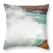 Niagara Falls Autumn Throw Pillow by Charline Xia
