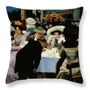 Night Restaurant Throw Pillow by MG Slepyan