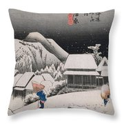 Night Snow Throw Pillow by Hiroshige