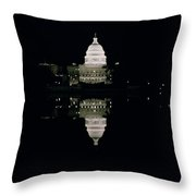 Night View of the Capitol Throw Pillow by American School