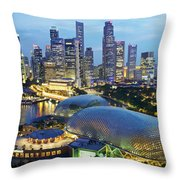 Night View Of The Esplanade And Central Throw Pillow by Justin Guariglia