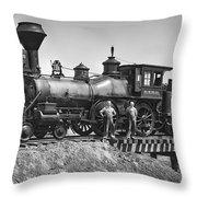 No. 120 Early Railroad Locomotive Throw Pillow by Daniel Hagerman