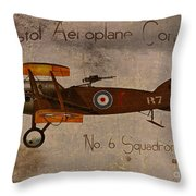 No. 6 Squadron Bristol Aeroplane Company Throw Pillow by Cinema Photography