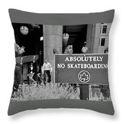 No Skateboarding Throw Pillow by Brian Wallace
