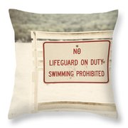 No Swimming Throw Pillow by Lisa Russo