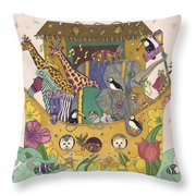 Noah's Ark Throw Pillow by Dee Van Houten