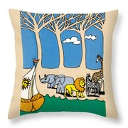 Noah's Ark Throw Pillow by Genevieve Esson