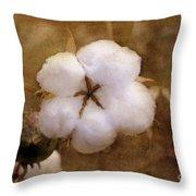 North Carolina Cotton Boll Throw Pillow by Benanne Stiens