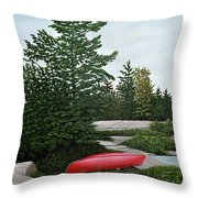 North Country Canoe Throw Pillow by Kenneth M  Kirsch