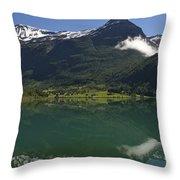 Norway, Briksdal Glacier At Jostedal Throw Pillow by Keenpress