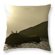 Norway, Tromso, Silhouette Of Pair Throw Pillow by Keenpress