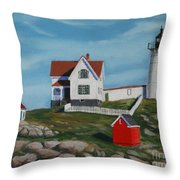 Nubble Light House Throw Pillow by Paul Walsh