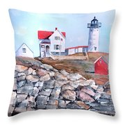 Nubble Lighthouse - Maine Throw Pillow by Arline Wagner