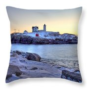 Nubble Sunrise Throw Pillow by Susan Cole Kelly