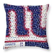 NY Giants Super Bowl Mosaic Throw Pillow by Paul Van Scott