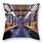 Nyc Subway Throw Pillow by Kelley King