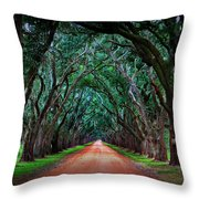Oak Alley Road Throw Pillow by Perry Webster